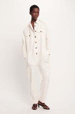 SILK-LINEN BOILER SUIT WHITE