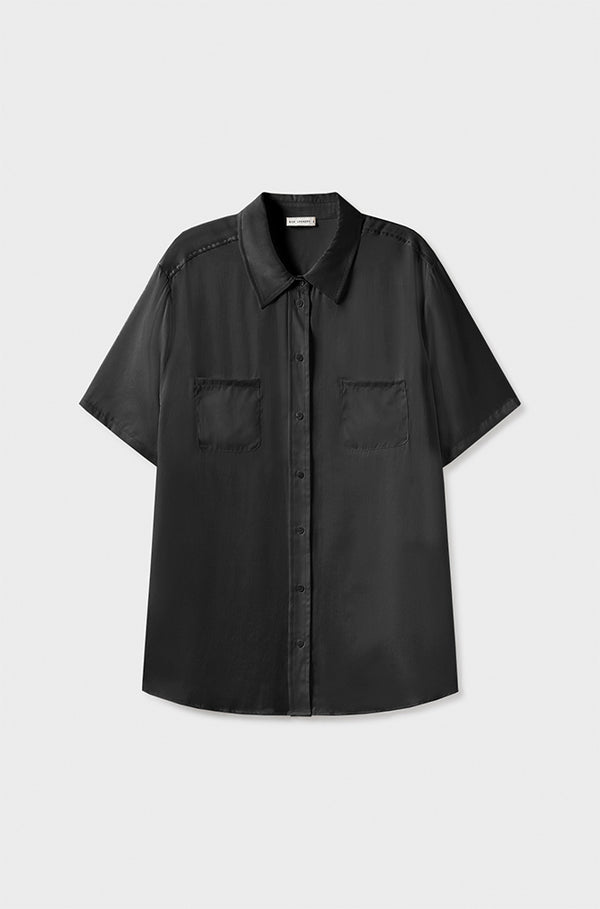 SHORT SLEEVE BOYFRIEND SHIRT BLACK