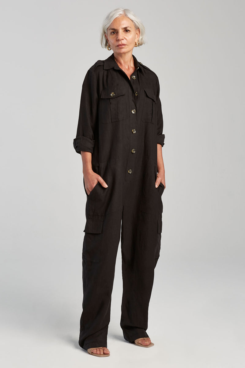 SILK-LINEN BOILER SUIT BLACK