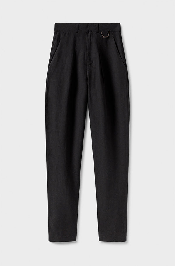 SILK-LINEN TROUSERS BLACK