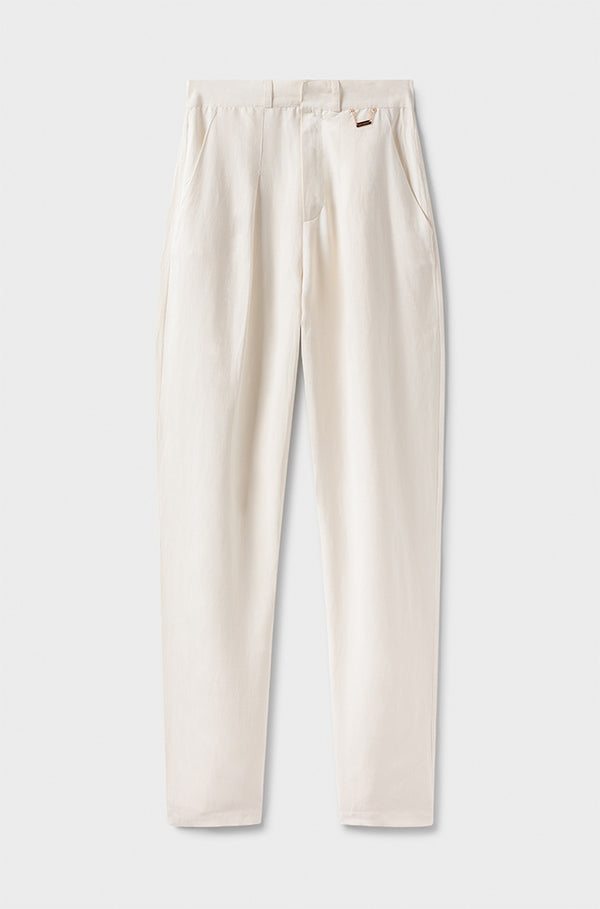SILK-LINEN TROUSERS WHITE