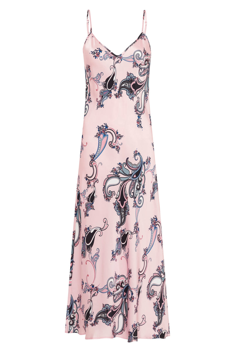 90S SILK SLIP DRESS PINK PAISLEY