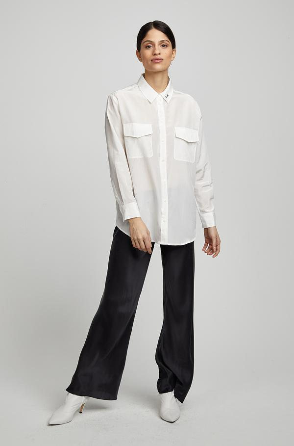 Silk Boyfriend Shirt Honey Collar White