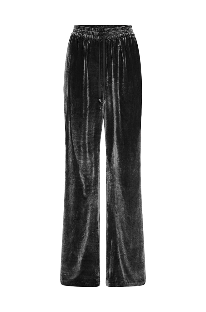 VELVET DRAWSTRING PANTS BLACK
