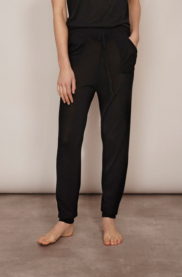 SILK COTTON TRACK PANT BLACK