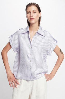 DROP SHOULDER SHIRT LILAC LOGO