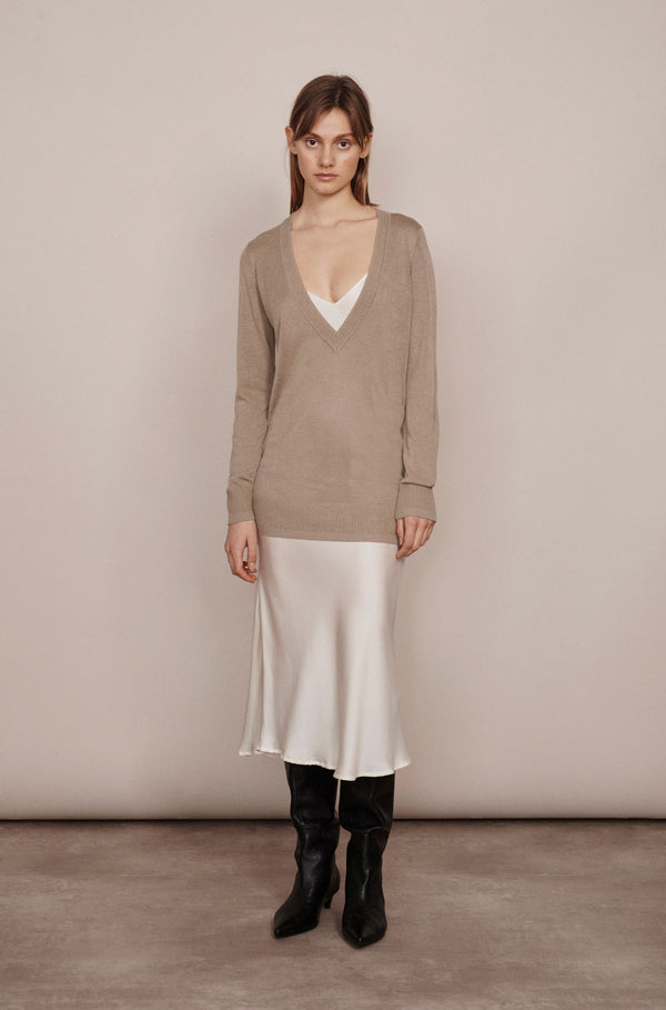 DEEP V SWEATER ALUMINIUM
