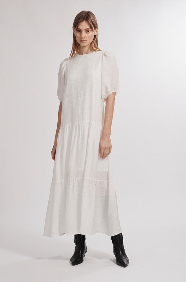 LONG FLOAT DRESS WHITE
