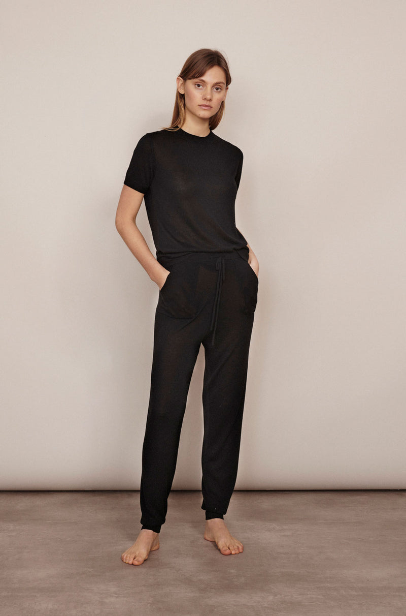 SILK COTTON TRACK PANTS BLACK