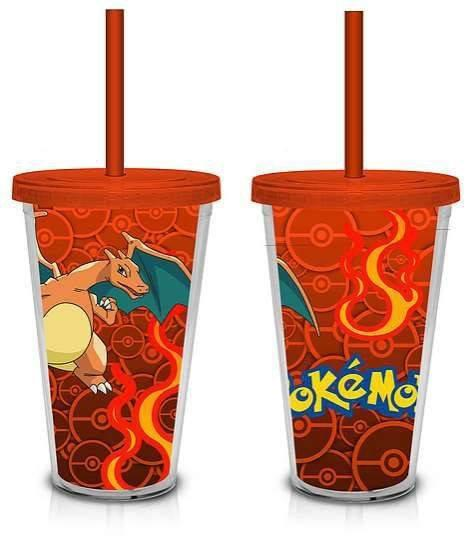 Pokemon Charizard Plastic Tumbler with Straw