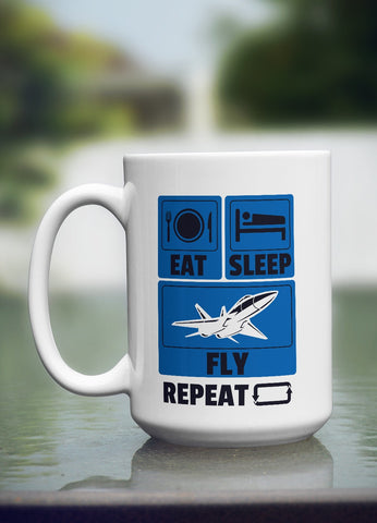 "Limited Edition - ""Eat Sleep Fly"" 15oz Mug"