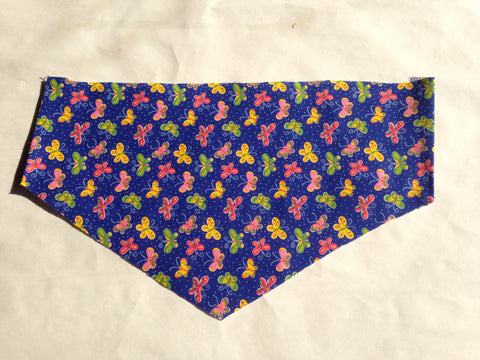 Nature - Insects Butterflies on Deep Blue Pet Bandana