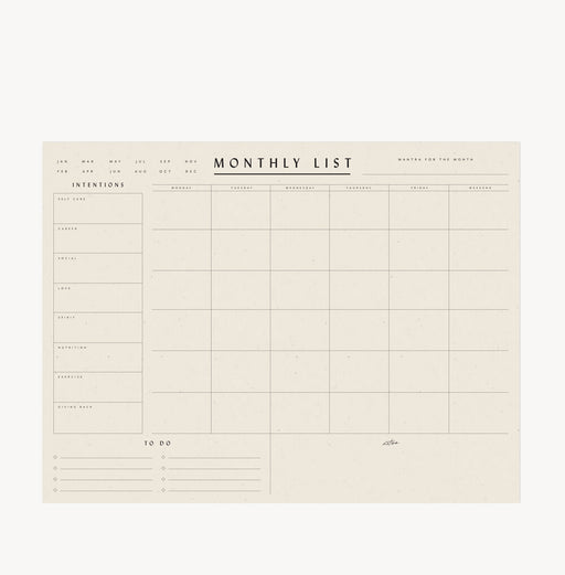 Monthly List Pad