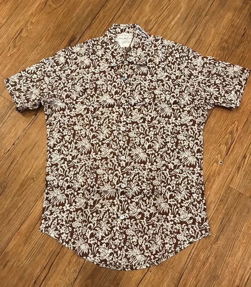 Mens Aloha Shirt | Brown Batik Blossom