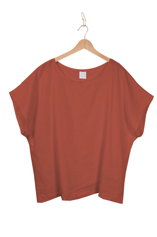 Draped box tee l Rust