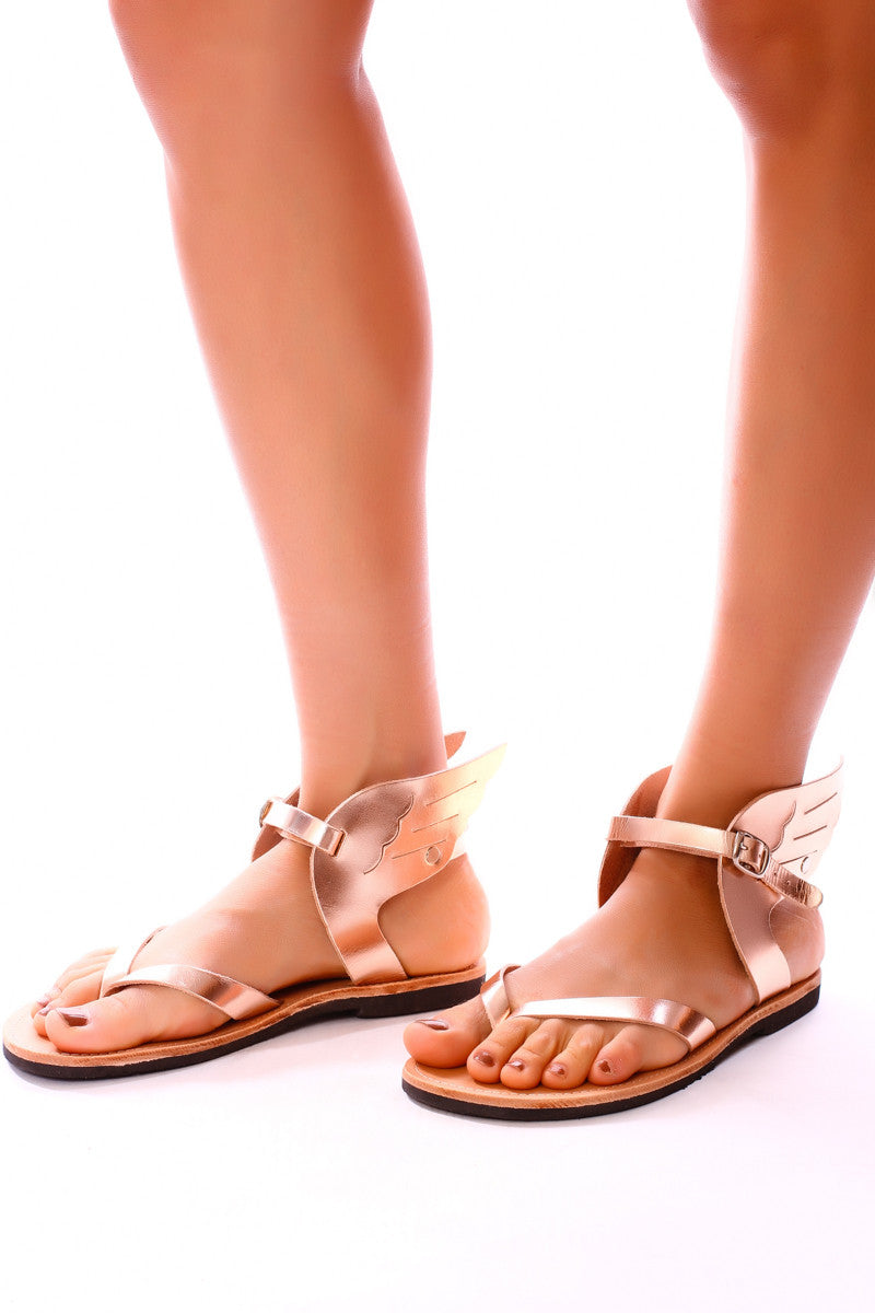 Womens Rose Gold Winged Sandal