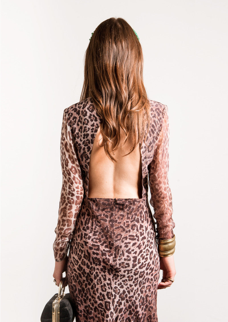 Rose Leopard Print Dress