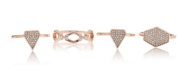 PAVE SHIELD RING SET x ROSE GOLD