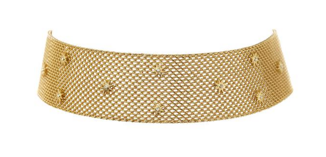 Revel Starburst Mesh Choker | Antique Gold
