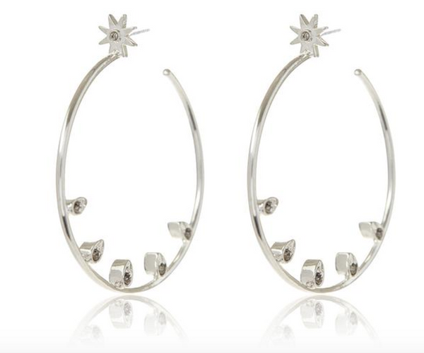 POSIE PAVE STATEMENT HOOPS x SILVER OX