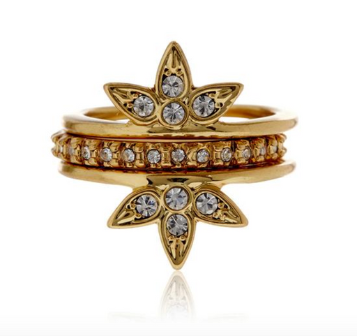 Posie Pavé Ring Set | Antique Gold