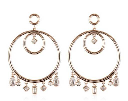 Hanging Stone Hoop Earrings | Rose Gold