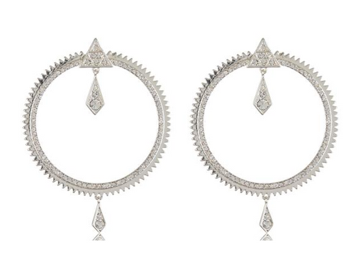 Pavé Kite Statement Hoops | Silver