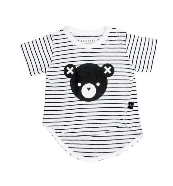 BEAR STRIPE ASYMMETRIC T-SHIRT