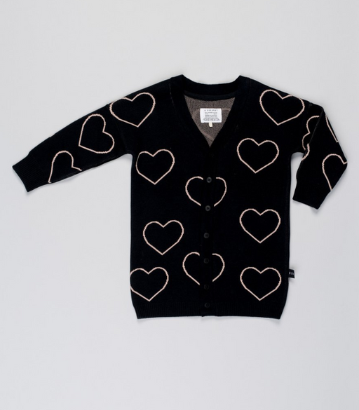 Heart Knit Cardi | Black