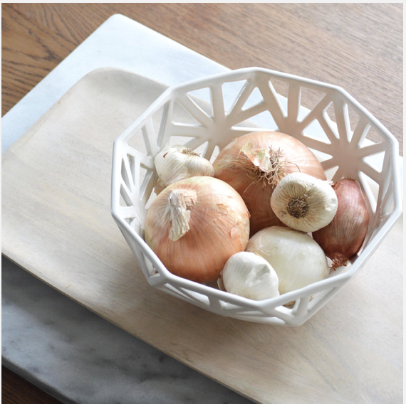 Ivory Geodesic Fruit Bowl