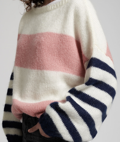 HEATHER STRIPE SWEATER | PINK