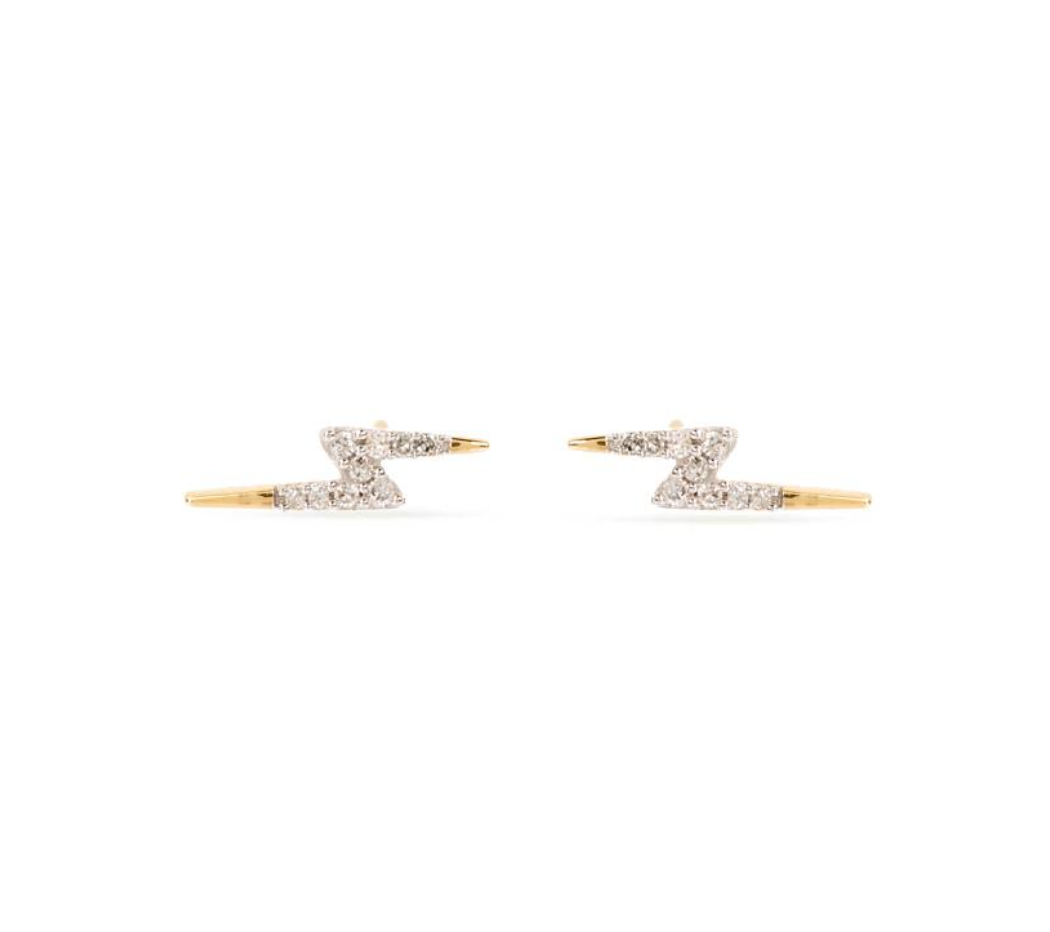 Tiny Pavé Lightning Bolt Posts | 14k Gold
