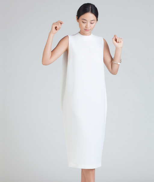 Dill High Collar Dress | White