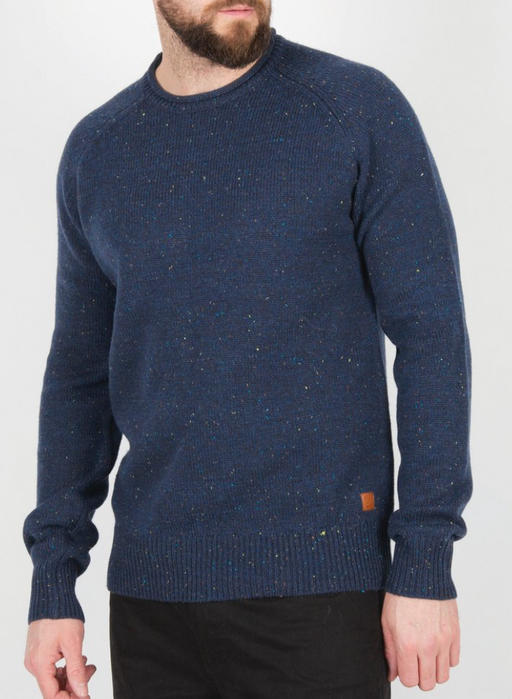 Hoddevik Knitted Sweater | Navy Fleck