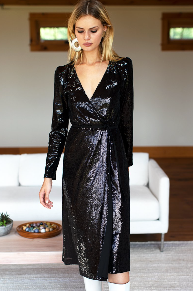 Ballet Dress Midi | Black Sequin