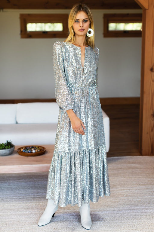 Frances Dress | Silver Sequin