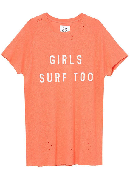 GIRLS SURF TOO TEE x HOT CORAL