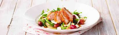Warm Alfresco Duck Salad with pear, red grapes and fetta