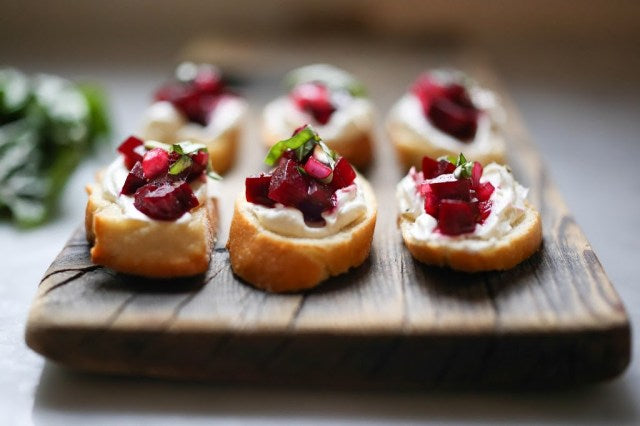 Beetroot Bruschetta with Goats Cheese and Basil