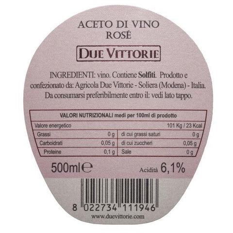 Image of Due Vittorie Rosé Wine Vinegar