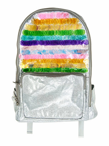 Bari Lynn Full Size Backpack- Silver Sequins