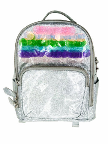 Bari Lynn Mini Backpack- Silver Sequins