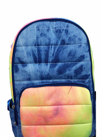 Bari Lynn Full Size Backpack - Denim Neon Tie Dye