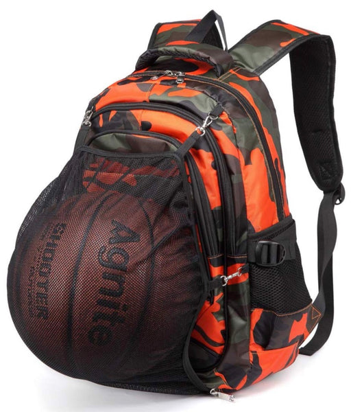Full Size Camo Backpack with Hidden Ball Net- Orange