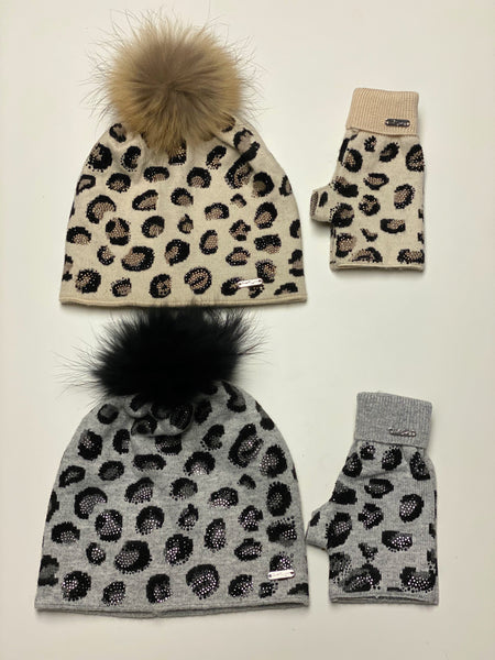 Leopard Spotted Pom Pom Hat