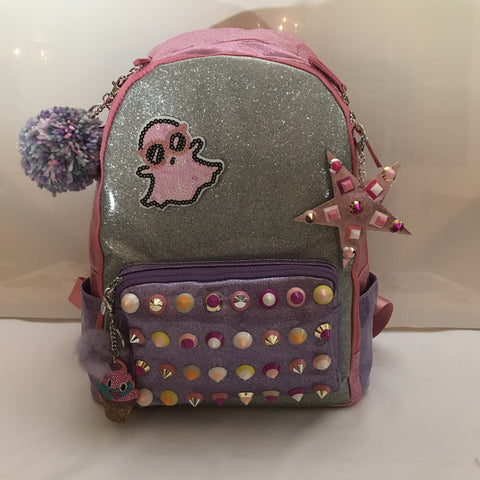 Full Size Studded Pink/Silver/Lavender Backpack