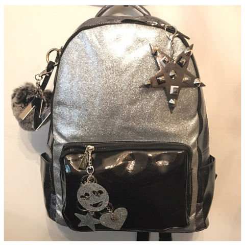 Full Size Black/Silver/Gunmetal Glitter Backpack