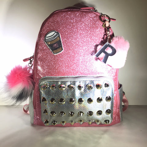 Full Size Studded Pink/Silver Backpack