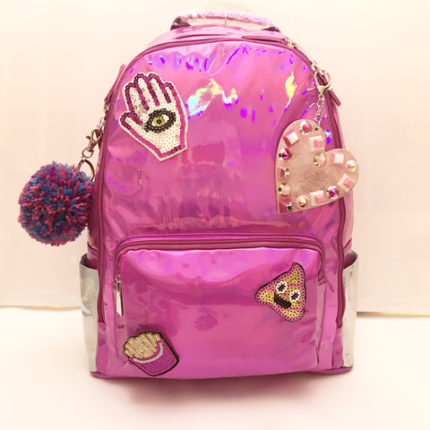 Fuchsia/Silver Hologram Backpack