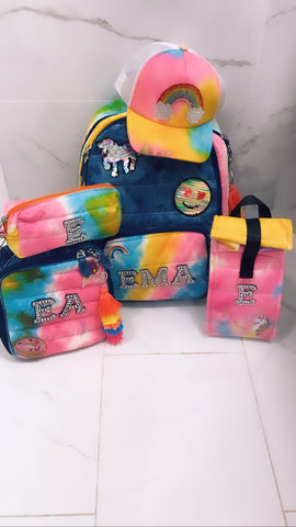 Bari Lynn Full Size Backpack- Denim Rainbow Tie Dye